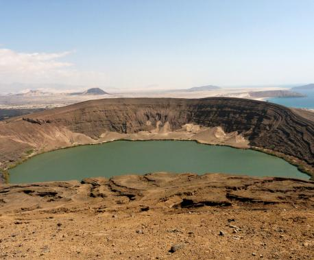 The Bir Ali Crater with the Gulf of Aden in the background, Yemen, 2009. Source: Email4Mobile.